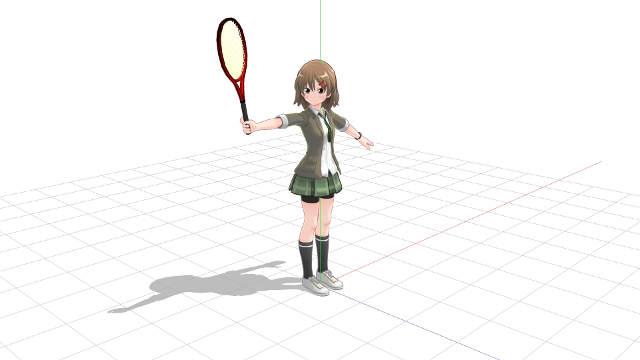腕とラケットに角度を設けて同じ状態で腕を伸ばす
