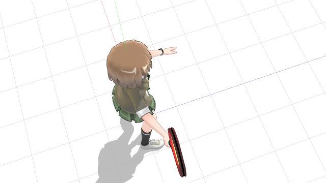 腕を広げるように伸ばしてラケット面を向ける(横から)