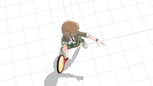 スタンス含め体を横向きにしてフォアボレーを打つ(横から)