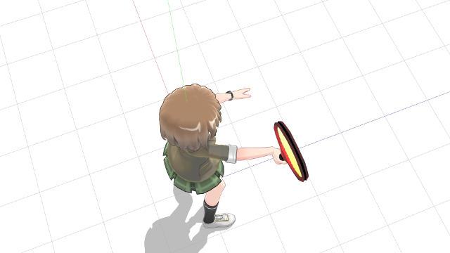 ネット向けて腕を前方に伸ばすようにしてラケット面を向ける(横から)