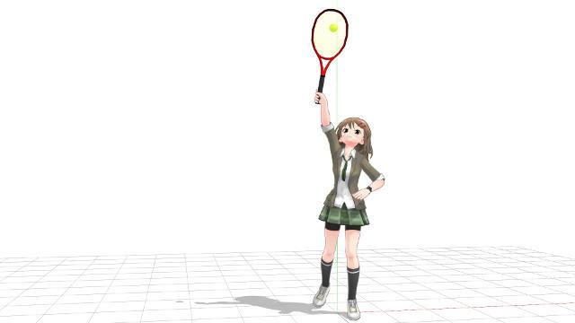 テニス サーブ 腕とラケットが一直線に近くなる
