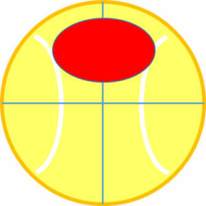 ボールの上側に偏って力を加えてスピンをかける2