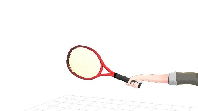 手首が伸びた状態でラケットを持つ