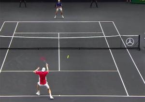 tennis hit a ball