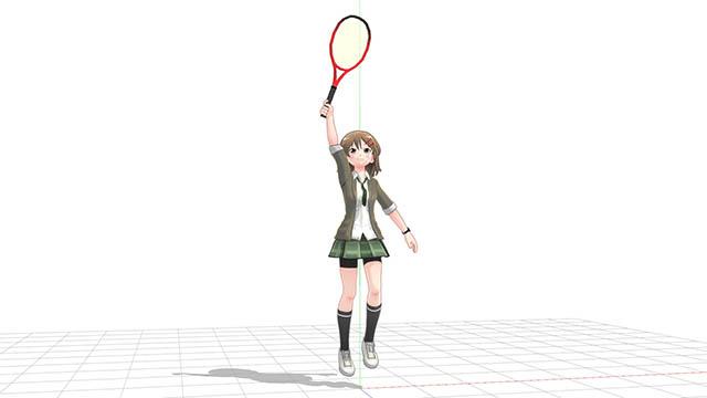ジャンプして頭上のボールをラケットで捉える